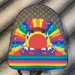 { Gucci } GG Logo Rainbow Bird Backpack